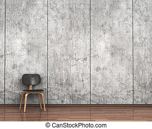 chair on the background of a concrete wall. 3d illustration