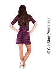 back view of standing young beautiful brunette woman girl...
