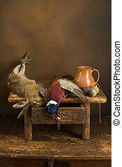 Autumn hunting still life - Antique old master hunting still...