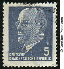 postmark - GERMANY- CIRCA 1961: stamp printed by Germany,...