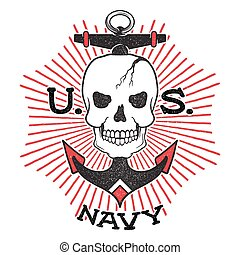 Old school US Navy design. Skull with an anchor on a...
