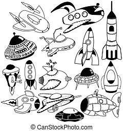 retro space flying machines - Vector illustration of...