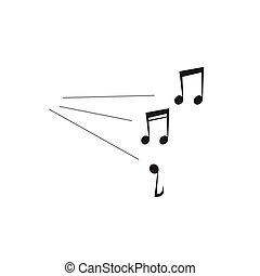 Loud music notes sound vector illustration isolated on...