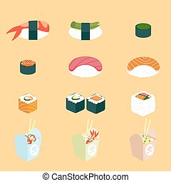 Vector set of Panasian food. Chinese and japanese cuisine:...