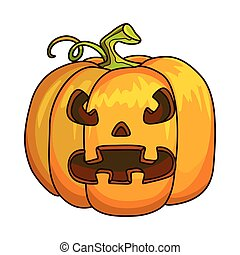 Holiday Halloween Pumpkin Jack Lantern. Vector Illustration