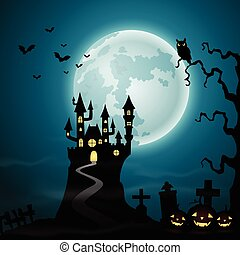 Halloween background with spooky ca - Vector illustration of...