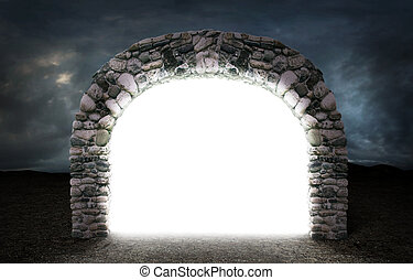 Concept of different dimension. White mysterious portal to...