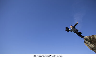 Businessman jumping with the diplomat. - Businessman jumping...