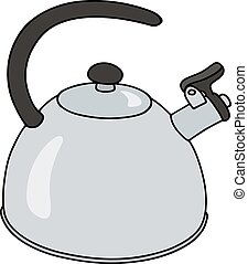 Stainless steel kettle - Hand drawing of a modern stainless...