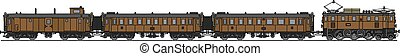 Old electric train - Hand drawing of a classic brown...