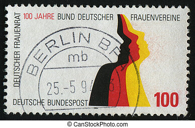 postmark - GERMANY- CIRCA 1994: stamp printed by Germany,...