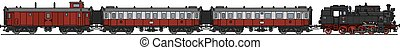 Retro steam train - Hand drawing of a classic red steam...