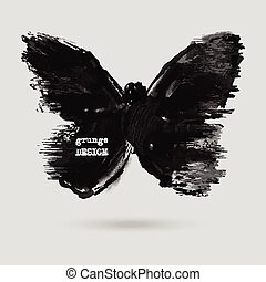 Rorschach test illustration. - Monochrome Silhouette of...