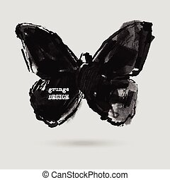 Rorschach test illustration - Monochrome Silhouette of...