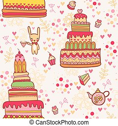Seamless cake pattern with rabbit