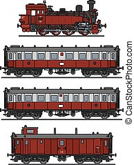 Retro steam train - Hand drawing of a vintage red steam...