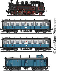 Old steam train - Hand drawing of a classic blue steam train