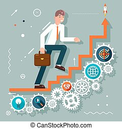 Infographic Ladder Stairs Businessman Goes to Success Symbol Gears icons Flat Design Vector Illustration