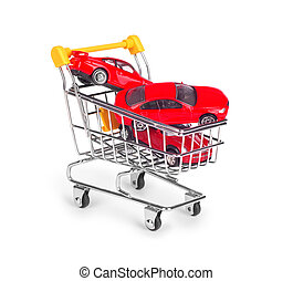 cars are in the shopping cart on white