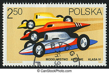 postmark - POLAND - CIRCA 1981: stamp printed by Poland,...