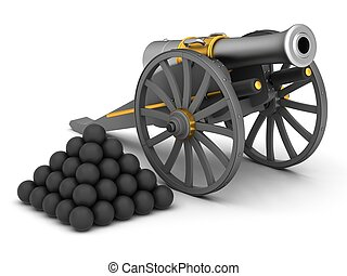 Ancient cannon on wheels isolated on white 3D illustration