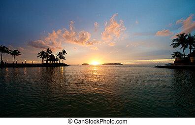 Beach Sunset in Sabah Malaysia - Beach Sunset in Sabah Kota...