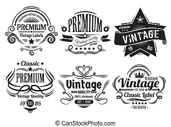 Vintage Labels - Six scalable old school retro vintage...