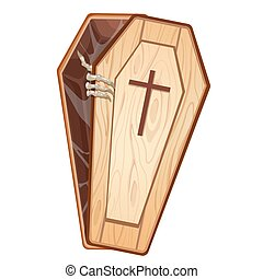 Illustration of a dead man opening the coffin.