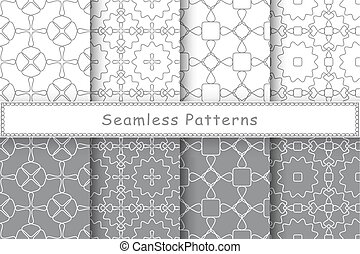 Set of 8 seamless patterns in ethnic style Monochrome...