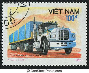 postmark - VIET NAM - CIRCA 1990: stamp printed by Viet Nam,...