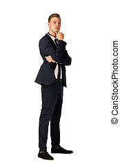 Young businessman full length portrait - Young business man...