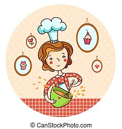 Woman in kitchen. Cook. Vector illustration. A woman...