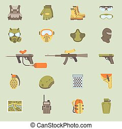 Vector flat paintball or airsoft icon set - Vector set of...