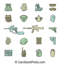 Vector colored paintball or airsoft icon set - Vector set of...