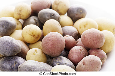 Raw Fingerling potatoes ,close up for  background