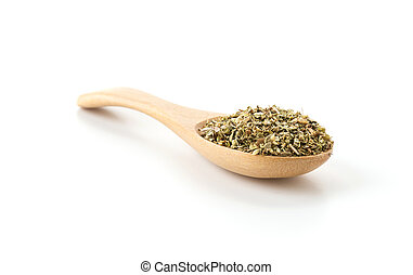 oregano on wood spoon