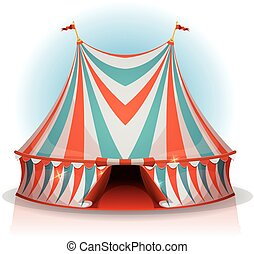 Big Top Circus Tent - Illustration of a cartoon big top...