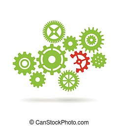 Broken piece of machinery concept - Gear wheels isolated on...