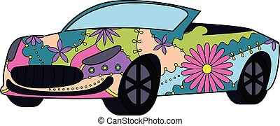 Car cabriolet colorful - vector isolated car cabriolet...