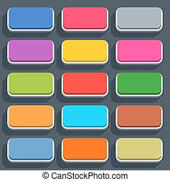 Flat blank web button rounded rectangle icon - 15 3d blank...