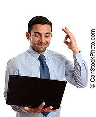 Happy businessman laptop excellent