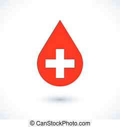 Donate drop blood red sign with white cross with gray long...