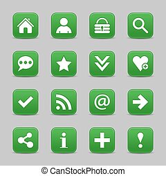 Green satin icon web button with white basic sign