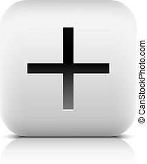 Web icon with plus sign. Rounded square button with black...