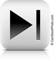Media player icon with next sign. Rounded square web button...