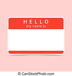 Blank red name tag sticker HELLO