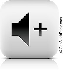 Media player icon with volume increase sign. Rounded square...