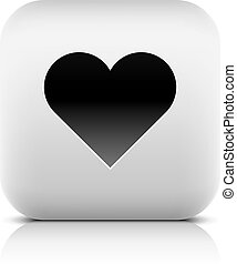 Web icon with heart sign. Rounded square button with black...