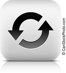 Media player icon with reload sign. Rounded square web...