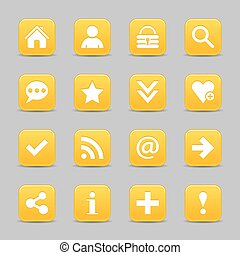 Yellow satin icon web button with white basic sign - 16...
